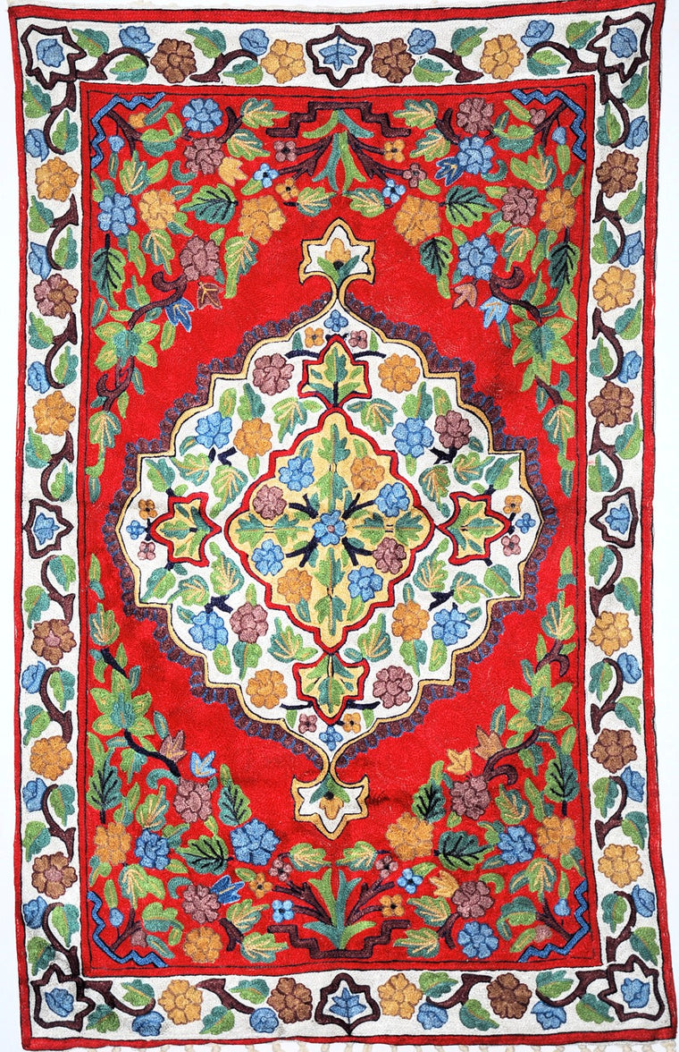 ChainStitch Tapestry Silk Rug, Multicolor Embroidery 2.5x4 feet #CWR10101