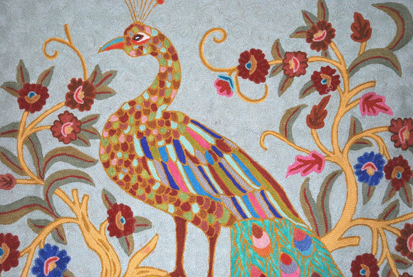 "Crewel Handmade Woolen Rug ""Peacock"", Multicolor Embroidery 3x5 feet #CWR15115"