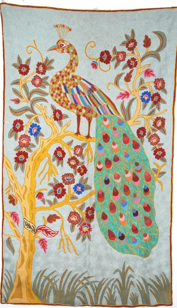 "ChainStitch Tapestry Woolen Rug ""Peacock"", Multicolor Embroidery 3x5 feet #CWR15115"