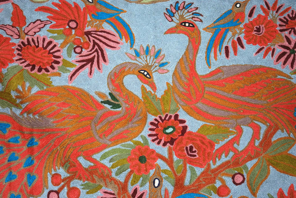 "ChainStitch Tapestry Woolen Rug ""Peacocks"", Multicolor Embroidery 3x5 feet #CWR15117"