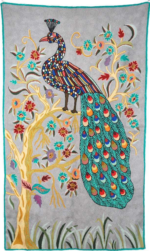 "ChainStitch Tapestry Woolen Rug ""Peacock"", Multicolor Embroidery 3x5 feet #CWR15121"