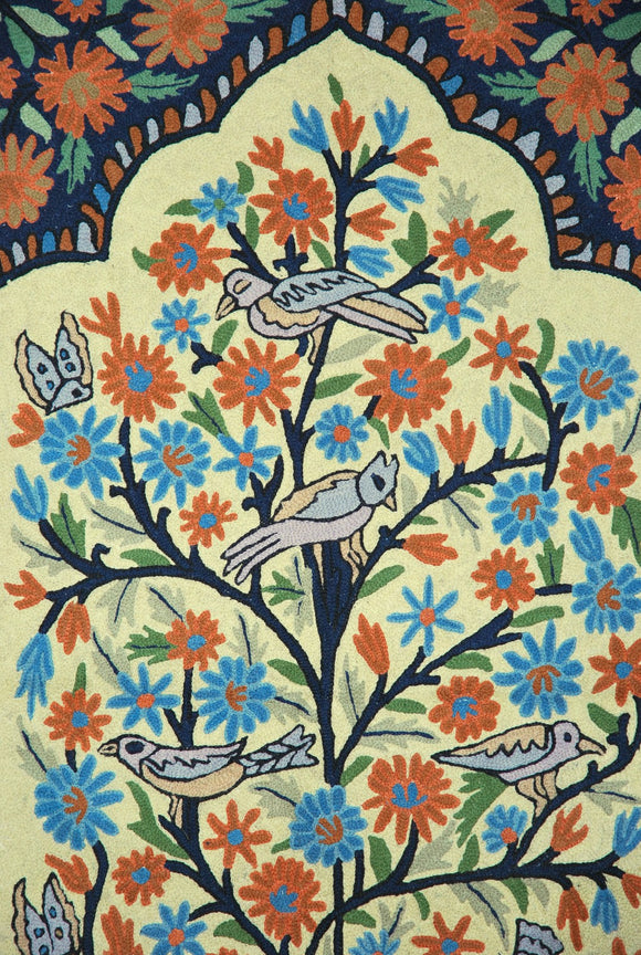 "Crewel Handmade Woolen Rug ""Tree of Life Birds"", Multicolor Embroidery 3x5 feet #CWR15124"