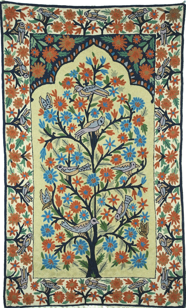 "ChainStitch Tapestry Woolen Rug ""Tree of Life Birds"", Multicolor Embroidery 3x5 feet #CWR15124"