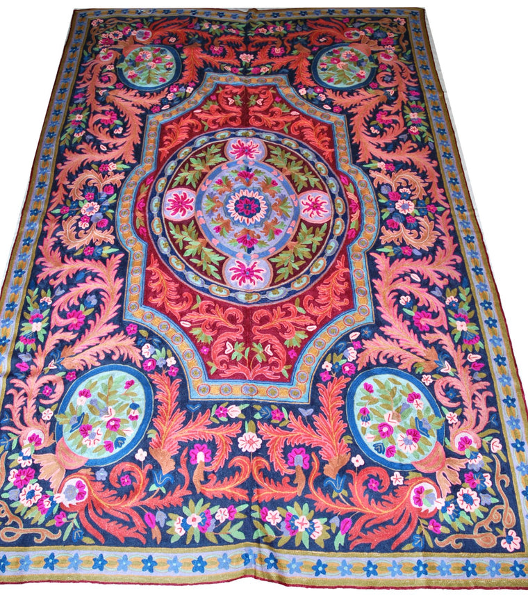 ChainStitch Tapestry Woolen Rug, Multicolor Embroidery 6x9 feet #CWR54107