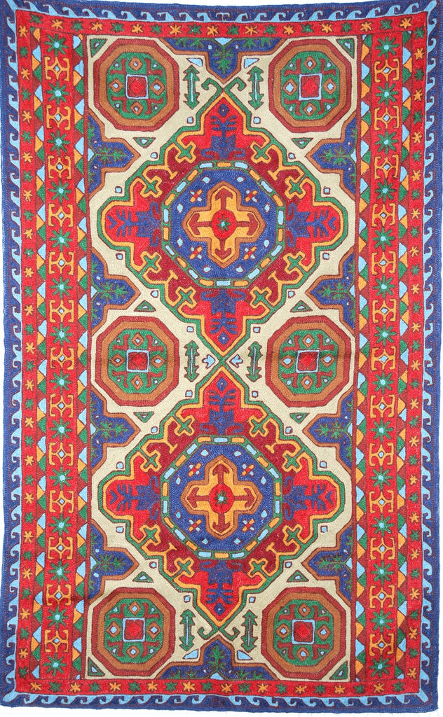 ChainStitch Tapestry Woolen Rug Kilim, Multicolor Embroidery 3x5 feet #CWR15122