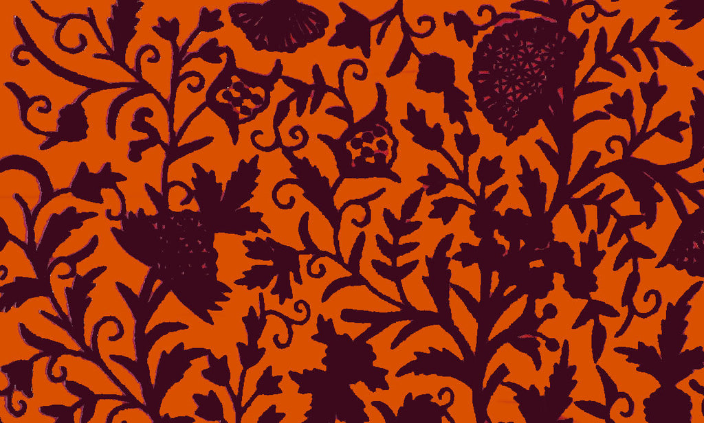 Custom Made Crewel Embroidered Fabric #3372