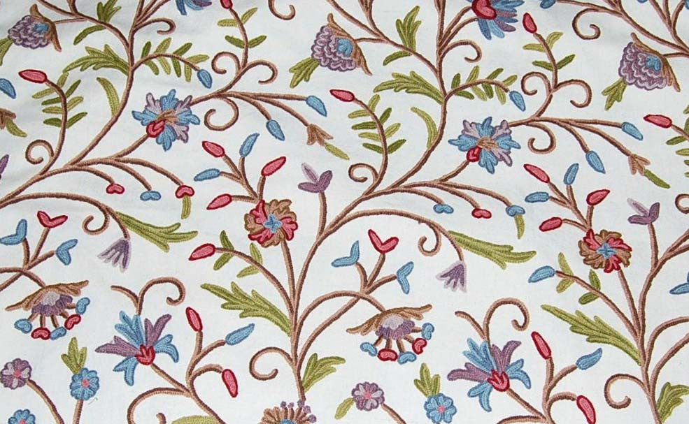 Custom Made Crewel Embroidered Fabric #3301