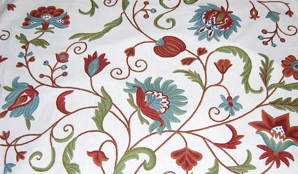 Custom Crewel Embroidered Fabric #3302