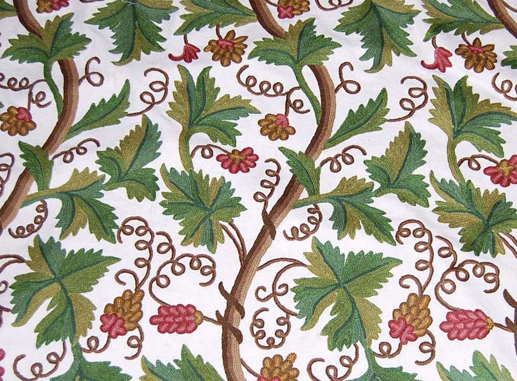 Custom Made Crewel Embroidered Fabric #3303