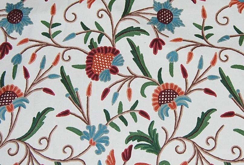 Custom Crewel Embroidered Fabric #3304