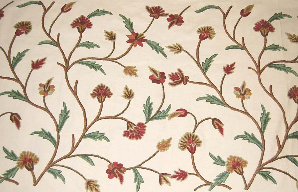 Custom Made Crewel Embroidered Fabric #3306