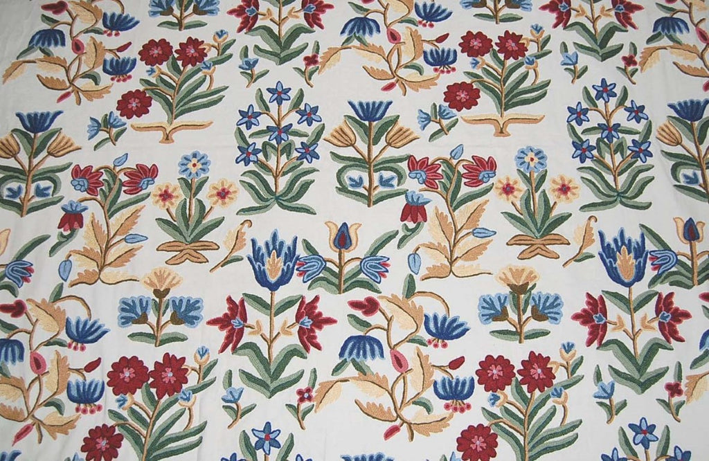Custom Crewel Embroidered Fabric #3307