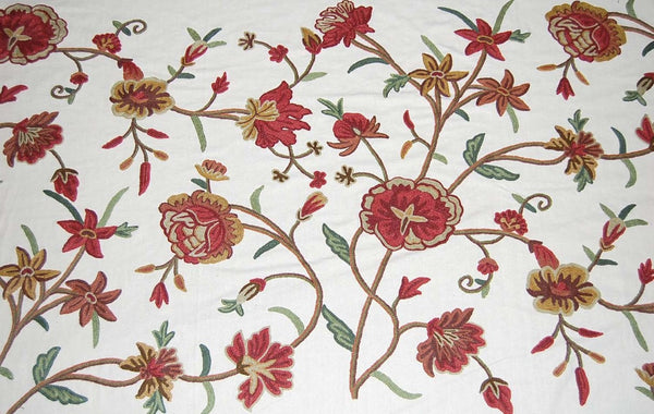 Custom Crewel Embroidered Fabric #3308