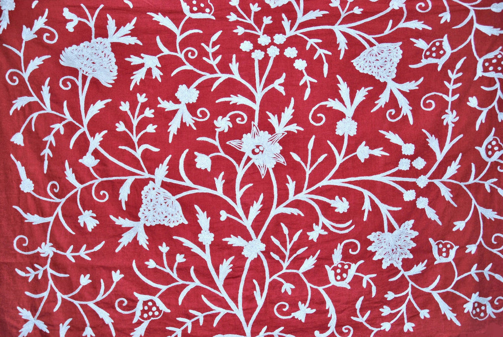 Custom Made Crewel Embroidered Fabric #3318