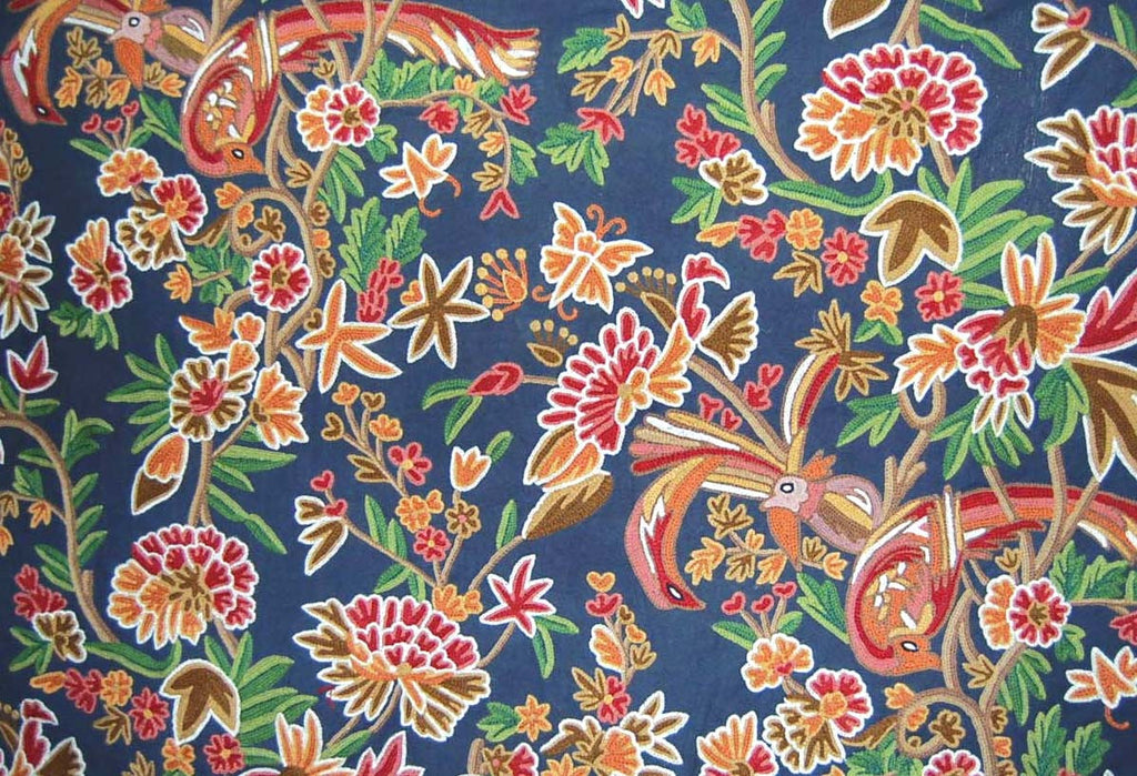 Custom Made Crewel Embroidered Fabric #3336