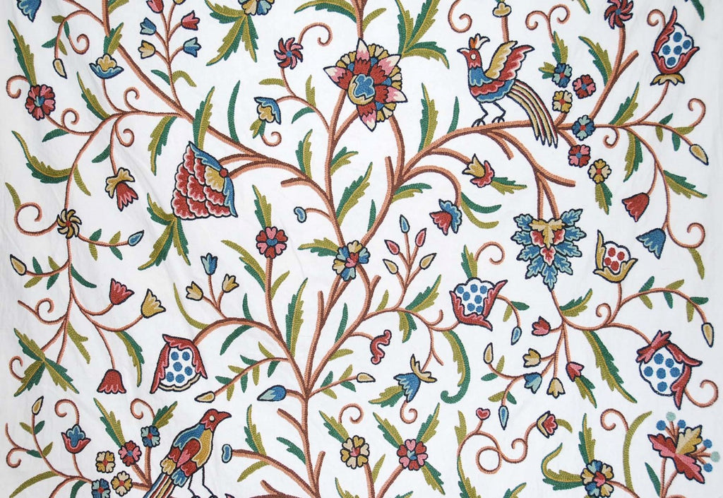 Custom Made Crewel Embroidered Fabric #3337