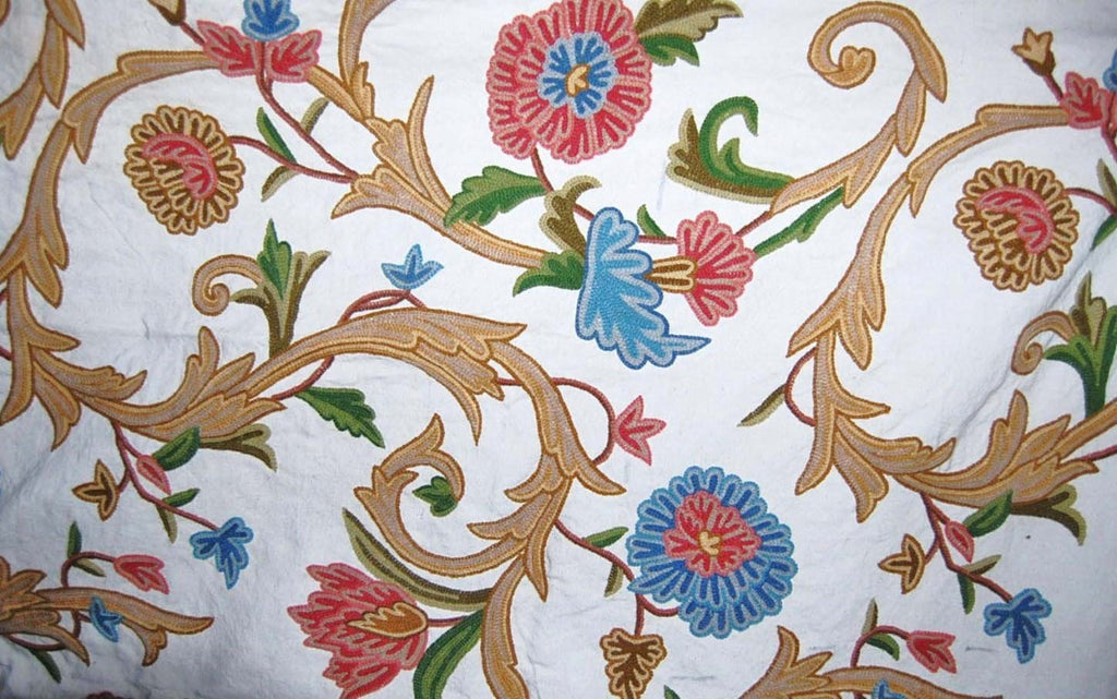 Custom Crewel Embroidered Fabric #3340
