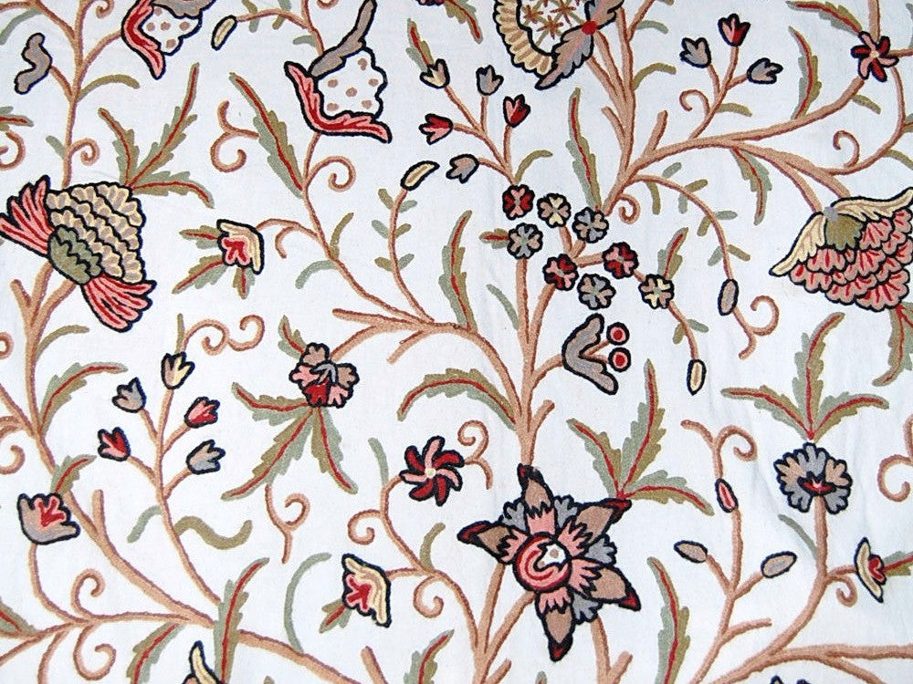 Custom Crewel Embroidered Fabric #3341