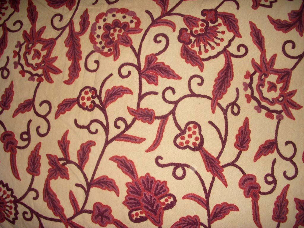 Custom Crewel Embroidered Fabric #3343