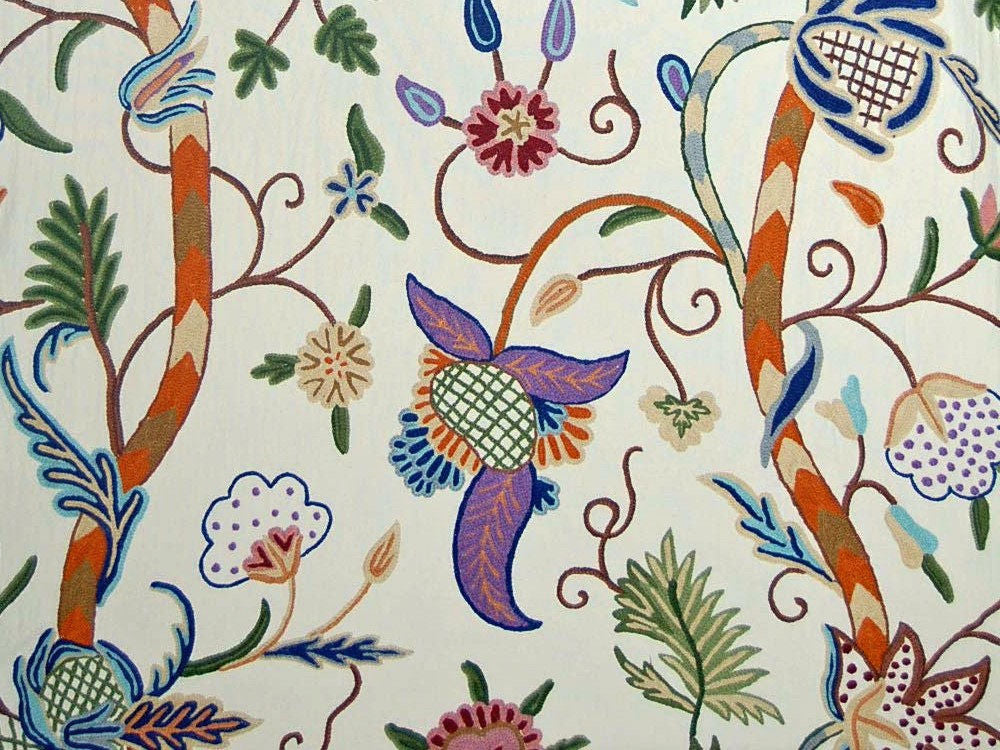 Custom Made Crewel Embroidered Fabric #3354