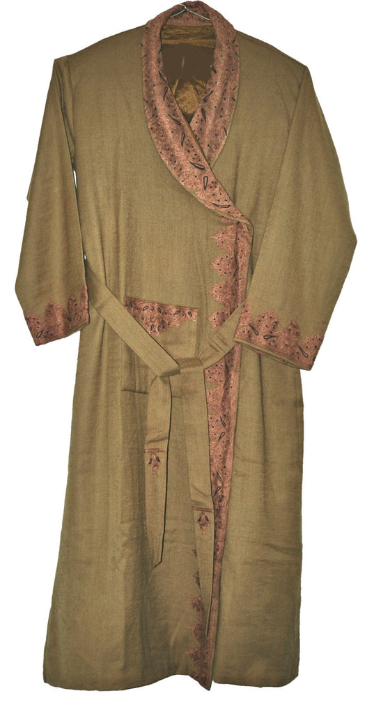 Woolen Embroidered Gents Dressing Gown Brown, Multicolor Embroidery #WG-102