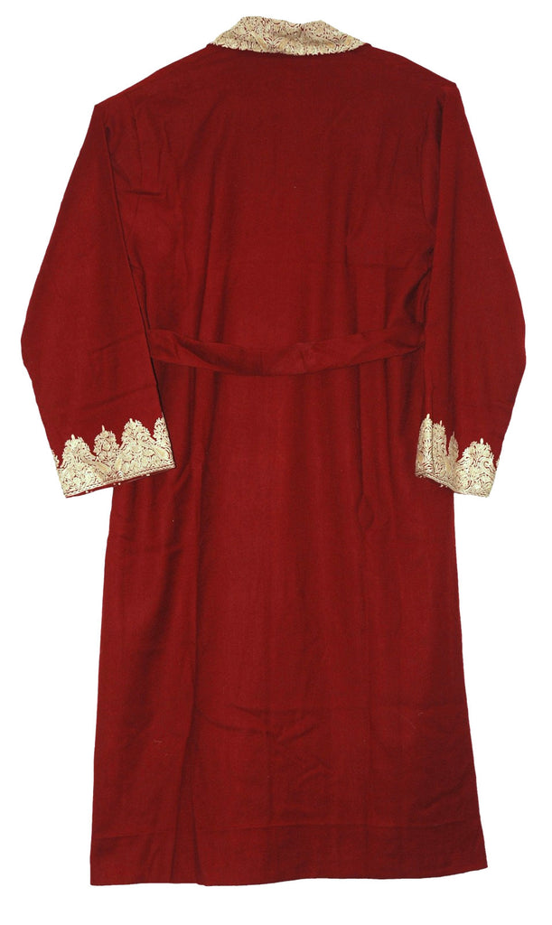 Woolen Gents Dressing Gown Burgundy Maroon, Cream Embroidery #WG-103