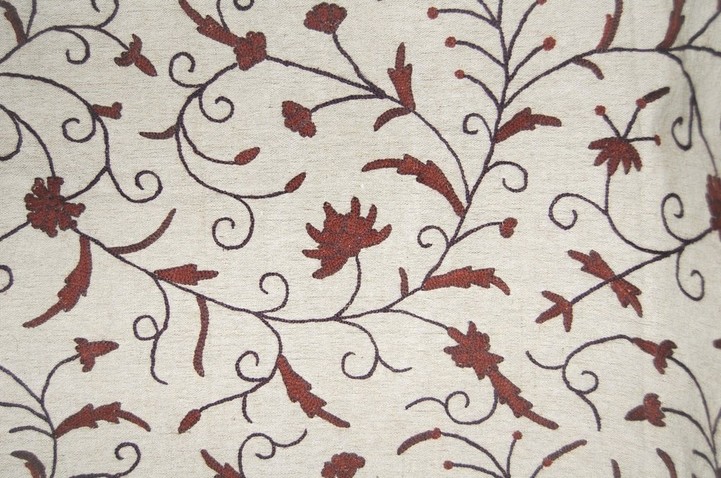 Jute Crewel Embroidered Fabric Jacobean, Brown on Beige #TML911