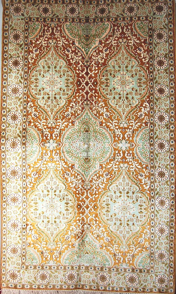 Kashmir Silk Carpet Hand Knotted, Green and Gold 3'x5' #CPS15201