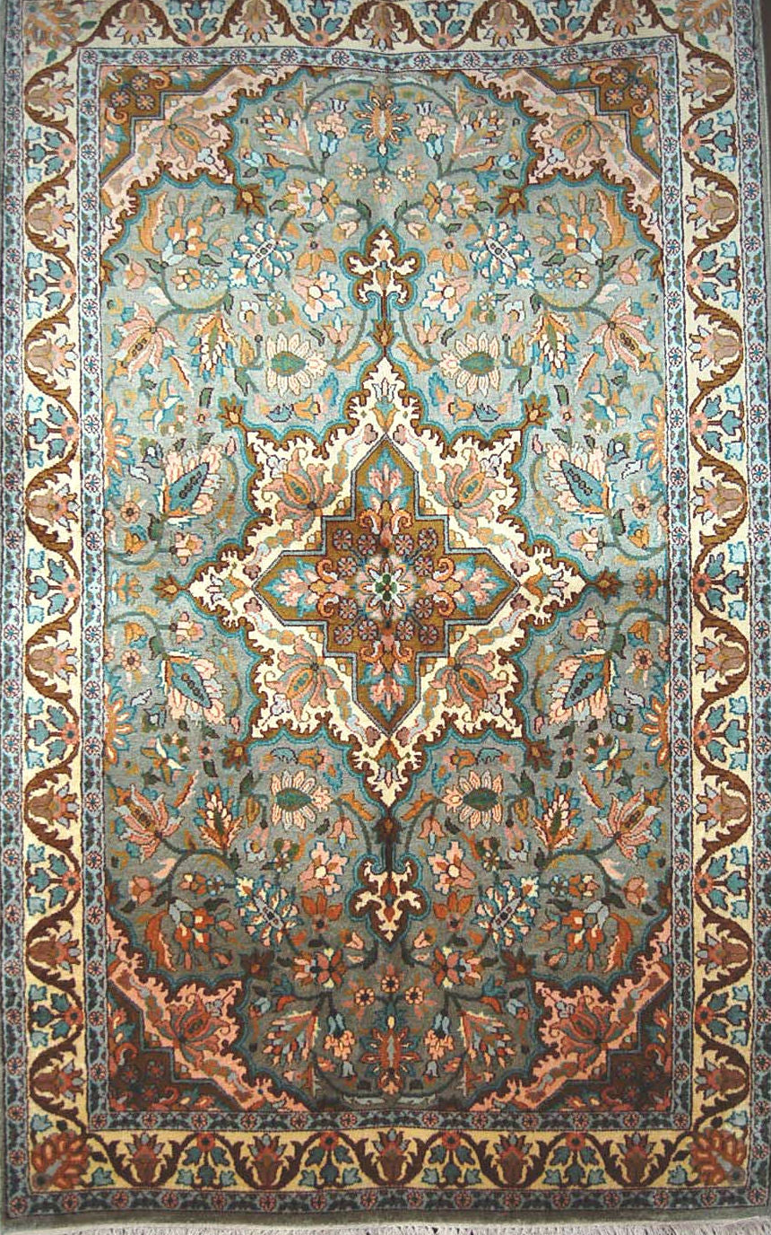 Kashmir Silk Carpet Hand Knotted, Turquoise 3'x5' #CPS15202