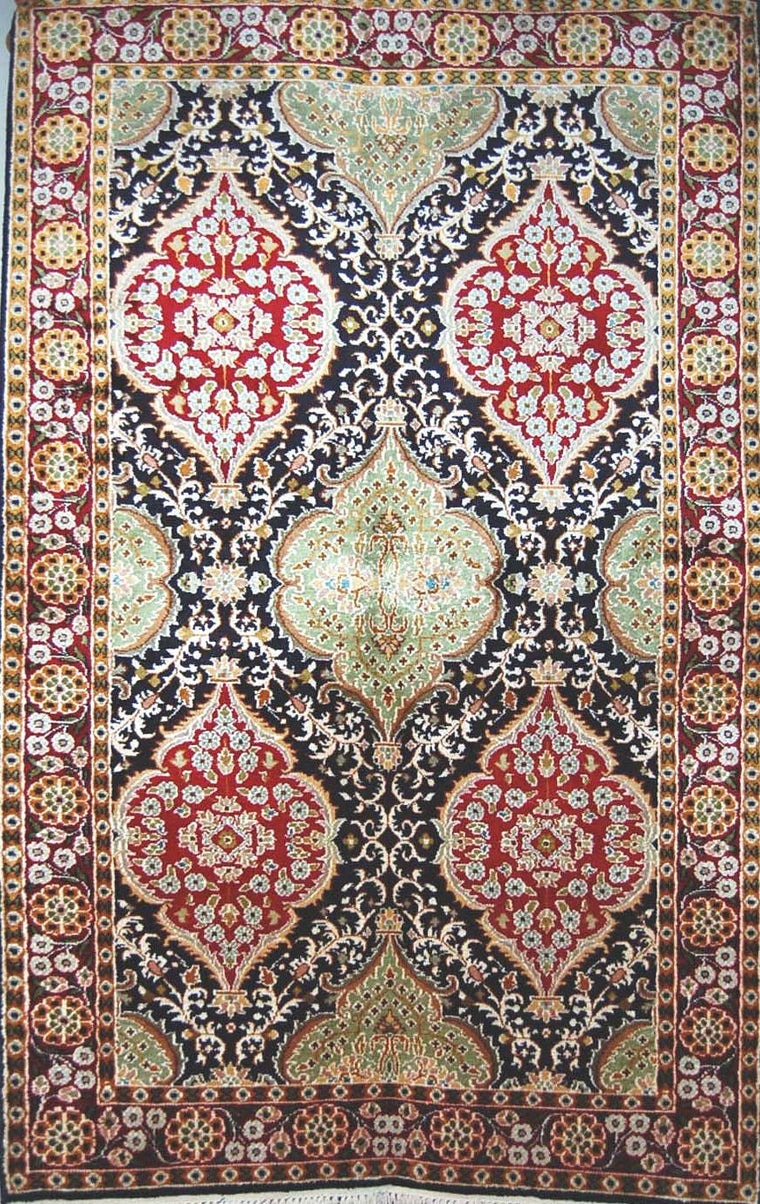 Kashmir Silk Carpet Hand Knotted, Red and Green 3'x5' #CPS15203