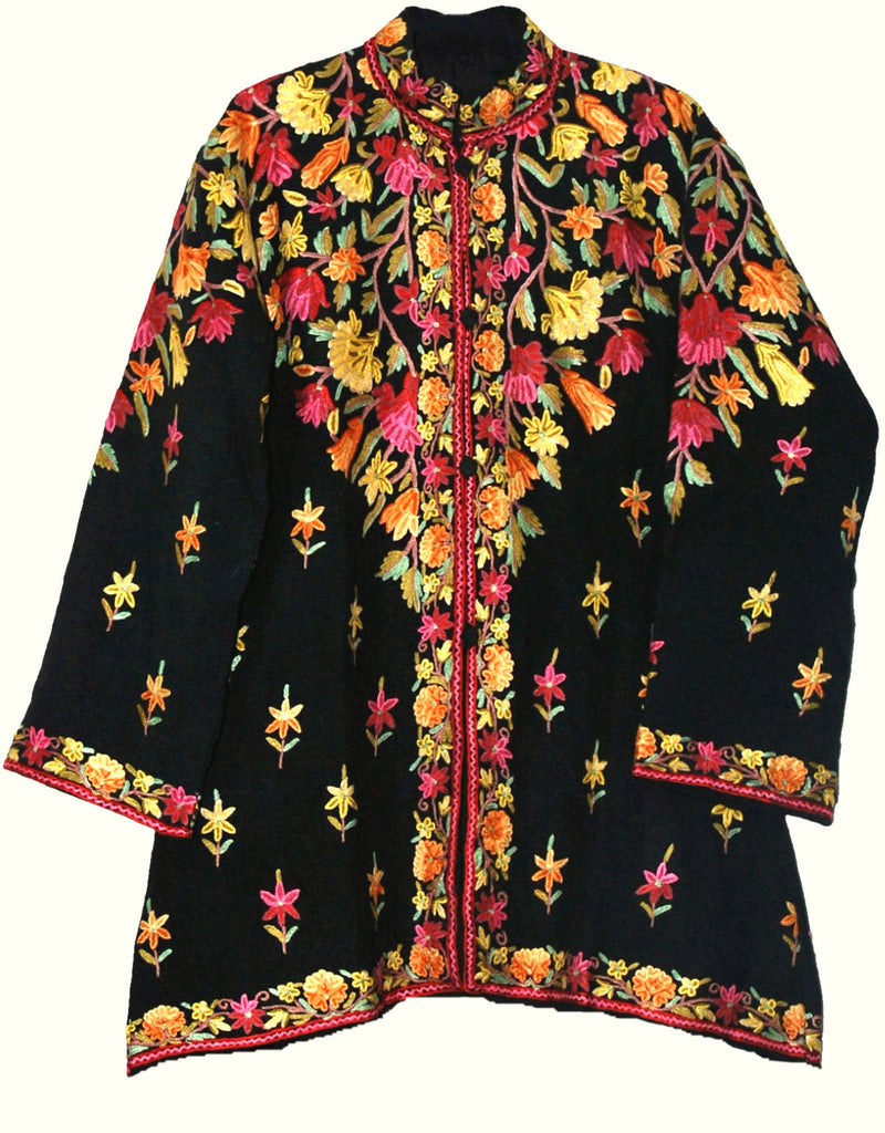 Embroidered Linen Jacket Black, Multicolor Embroidery #AO-504