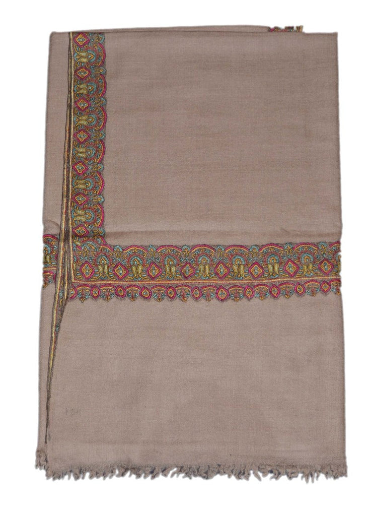"Kashmir Pashmina Cashmere Embroidered Shawl Grey 39"" x 80"", Multicolor #PDR-005"
