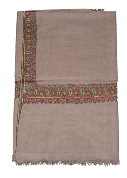 Kashmir Pashmina Cashmere Embroidered Shawl Grey Beige, Multicolor #PDR-005