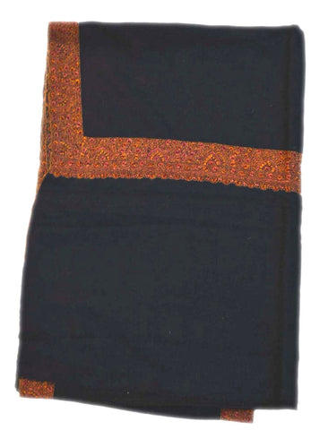 Kashmir Pashmina Cashmere Embroidered Shawl Black, Multicolor #PDR-006