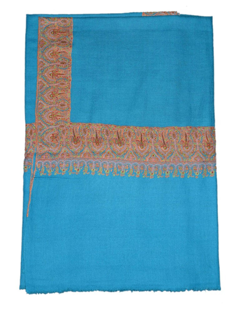 Kashmir Pashmina Cashmere Embroidered Shawl Turquoise, Multicolor #PDR-012