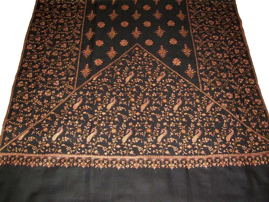 Kashmir Pashmina Cashmere Embroidered Shawl Black, Multicolor #PJL-003