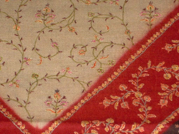 Kashmir Pashmina Cashmere Embroidered Shawl Multishade, Multicolor #PJL-104