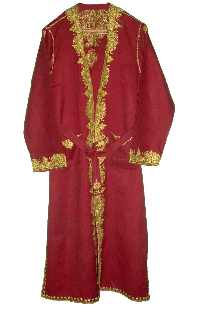 Kashmir Wool Dressing Gown Burgundy, Olive Embroidery #WG-001