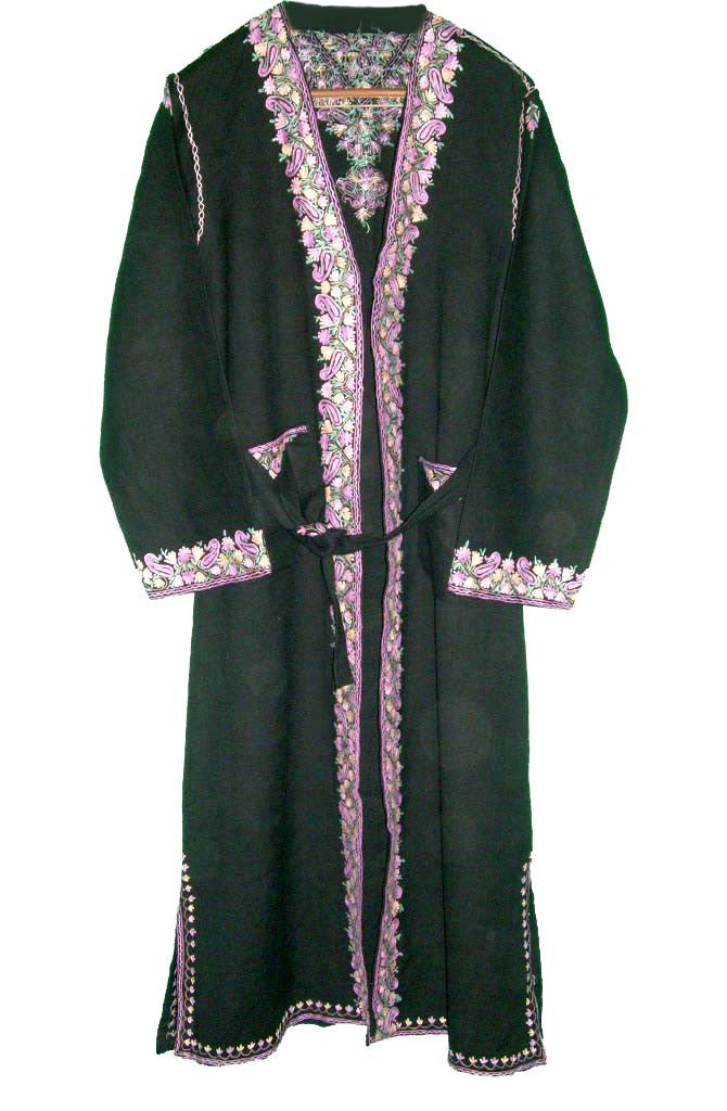 Woolen Ladies Dressing Gown Black, Multicolor Embroidery #WG-002
