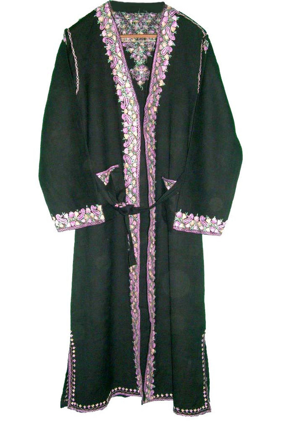 Kashmir Wool Dressing Gown Black, Multicolor Embroidery #WG-002
