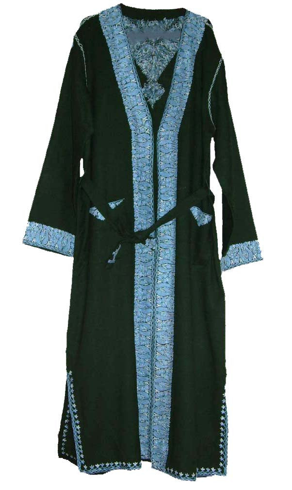 Kashmir Wool Dressing Gown Green, Turquoise Embroidery #WG-003