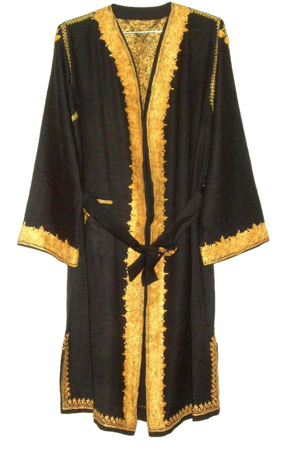 Kashmir Wool Dressing Gown Black, Yellow Embroidery #WG-004