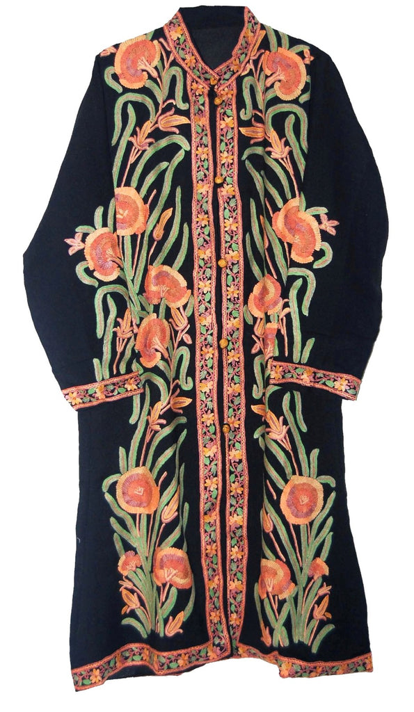 Embroidered Woolen Coat Black, Multicolor Embroidery #AO-1212