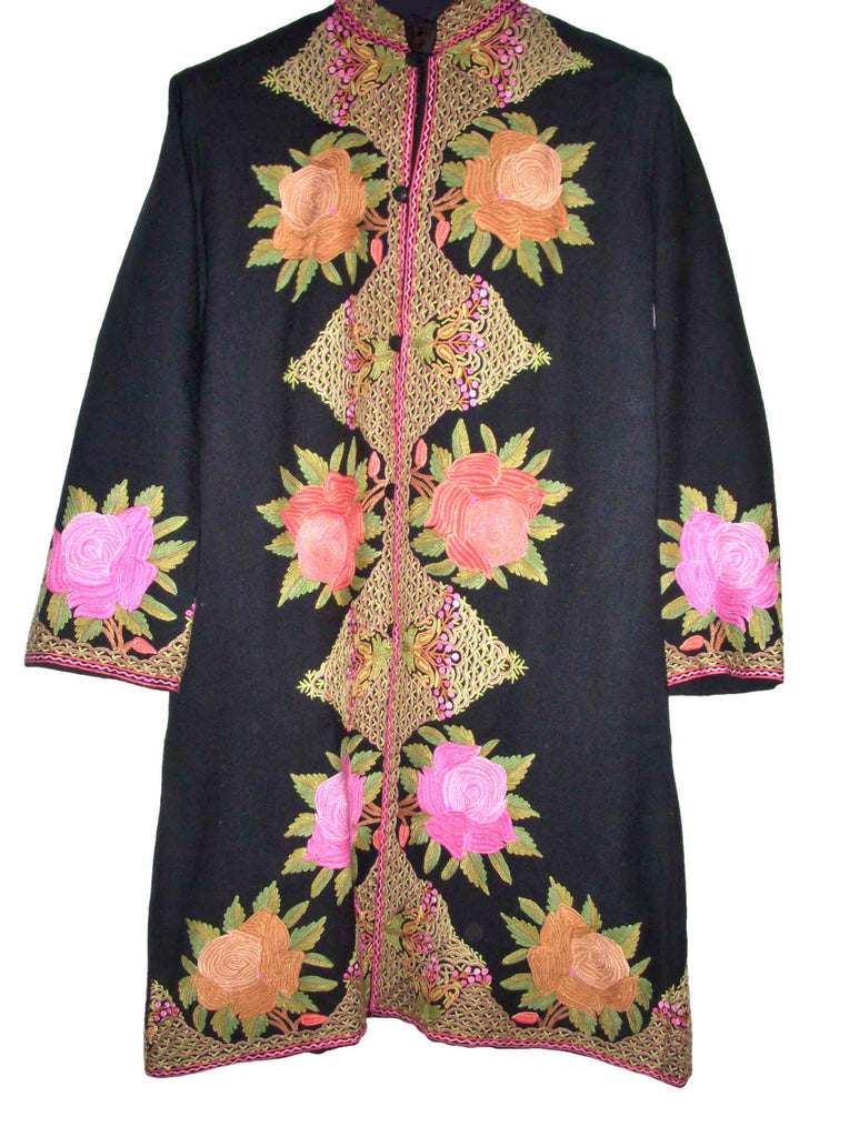 Embroidered Woolen Coat Black, Multicolor Embroidery #AO-121