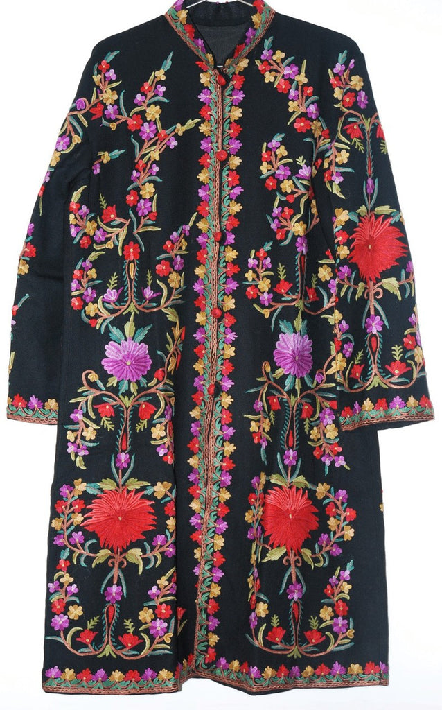 Embroidered Woolen Coat Black, Multicolor Embroidery #AO-140