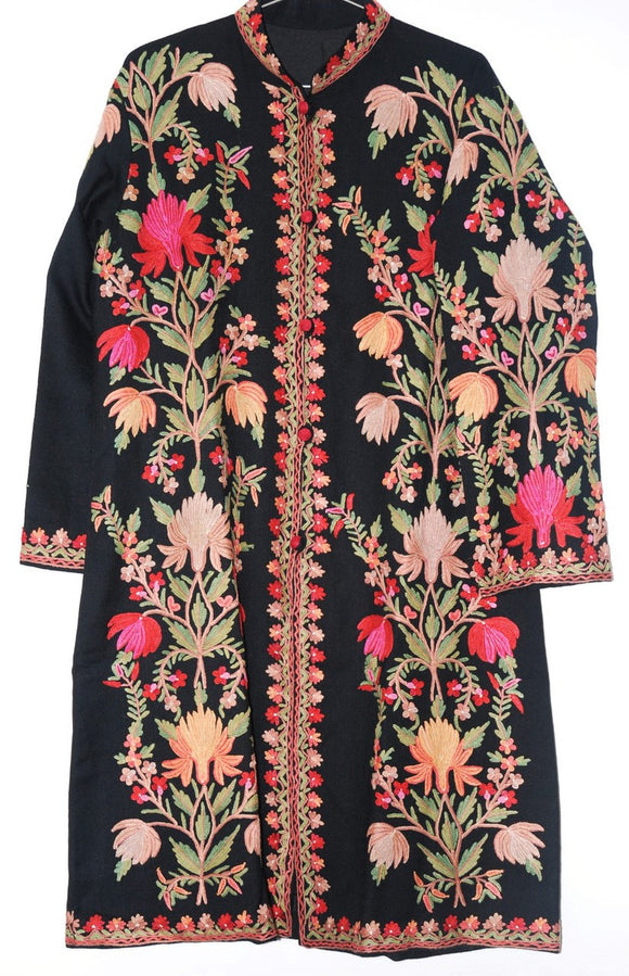Embroidered Woolen Coat Black, Multicolor Embroidery #AO-141