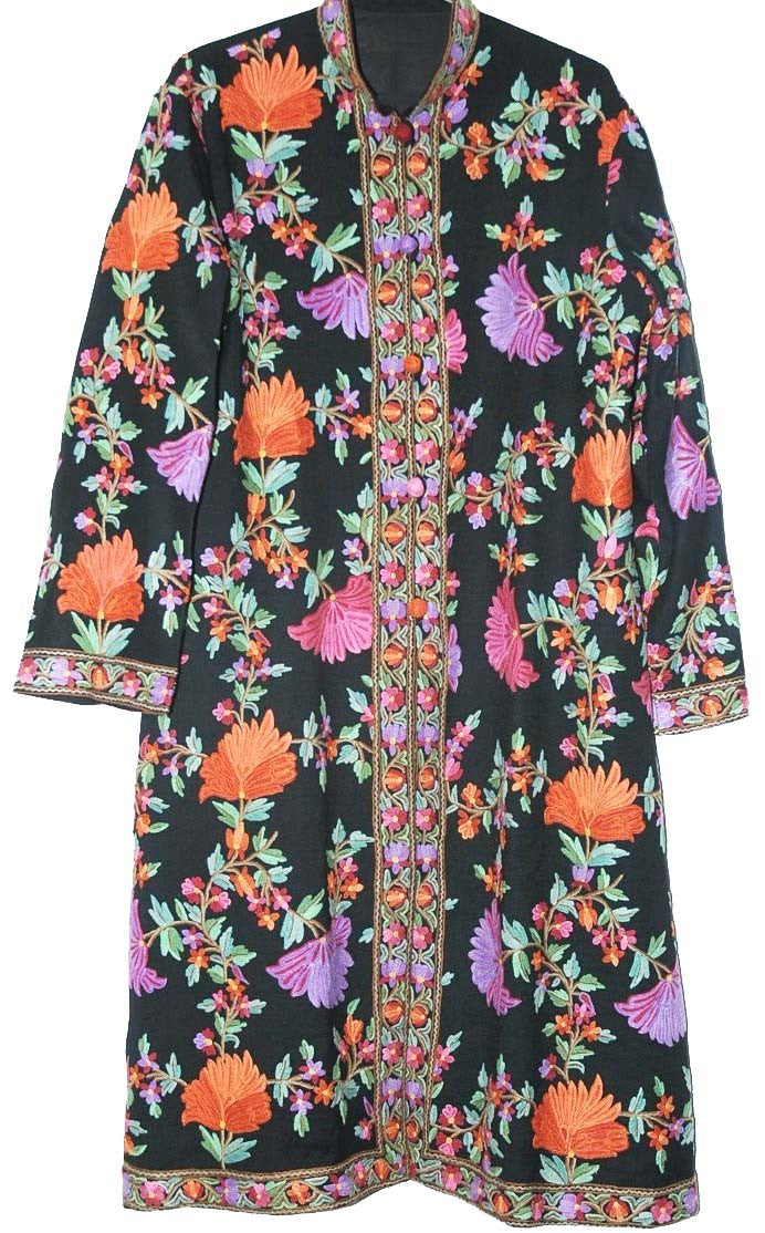 Embroidered Woolen Coat Black, Multicolor Embroidery #AO-142