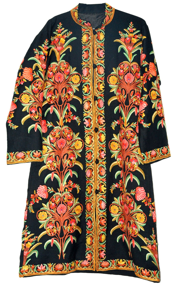 Embroidered Woolen Coat Black, Multicolor Embroidery #AO-146