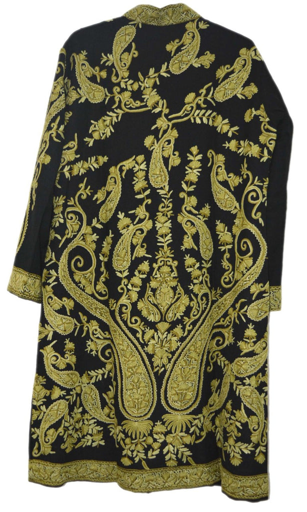 Woolen Embroidered Coat Black, Green Embroidery #AO-151