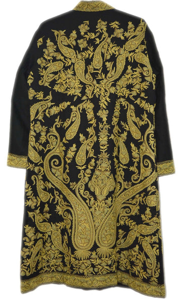 Woolen Embroidered Coat Black, Olive Embroidery #AO-152